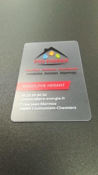 Carte de visite PVC rtansparent Pro énergie, Adékoi Périgueux, graphiste, communication