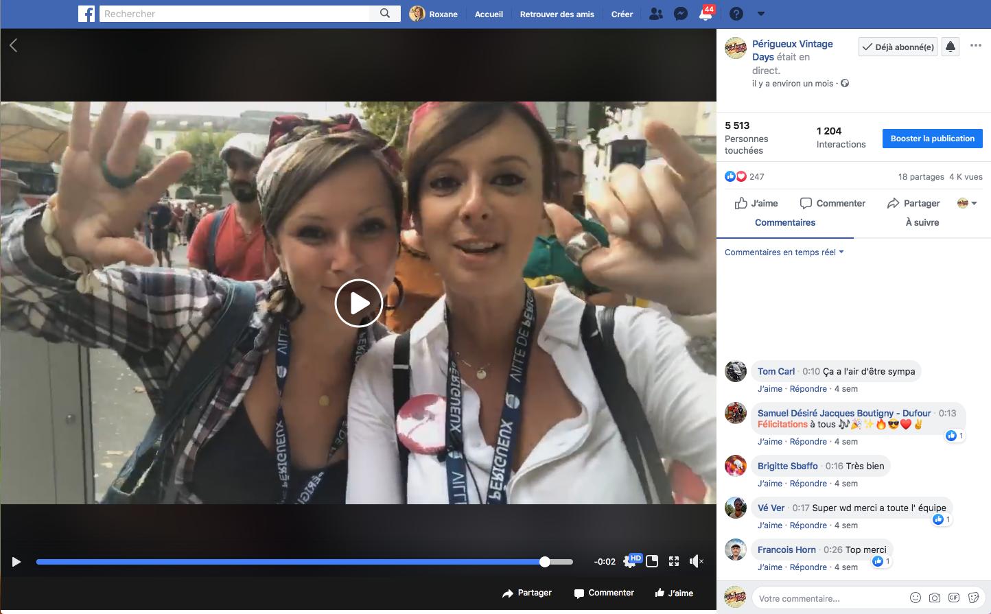 Vidéos Live Facebook Périgueux Vintage Days - Agence de communication Adékoi Dordogne