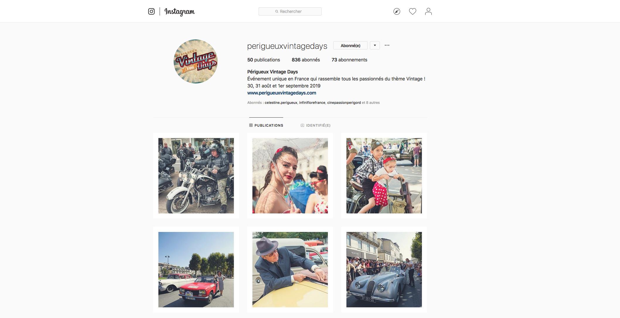 Instagram Périgueux Vintage Days - Agence de communication Adékoi Dordogne