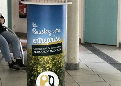 Création Stand, mange-debout et présentoir pour la Communauté de communes Périgord-Limousin