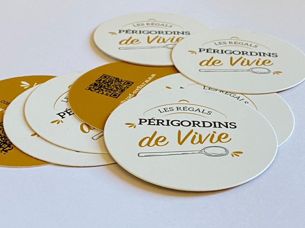 Cartes de visite, logo artisan conserveur Les régals périgordins de Vivie - Adékoi communication