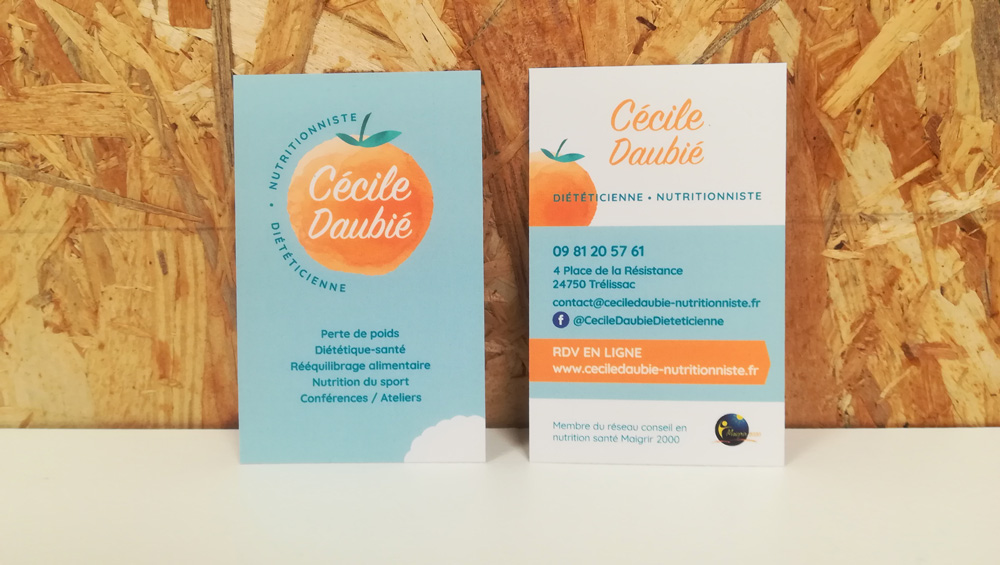 Cartes de visite -Cécile Daubié nutritionniste - Adékoi communication