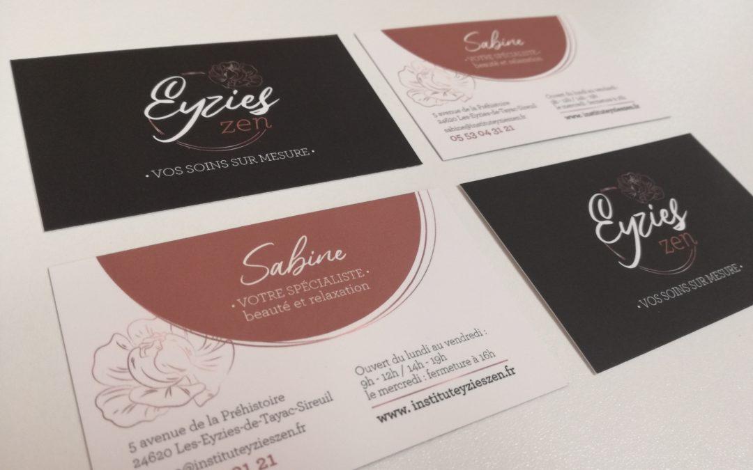 Création carte de visite Eyzies Zen Institut de beauté