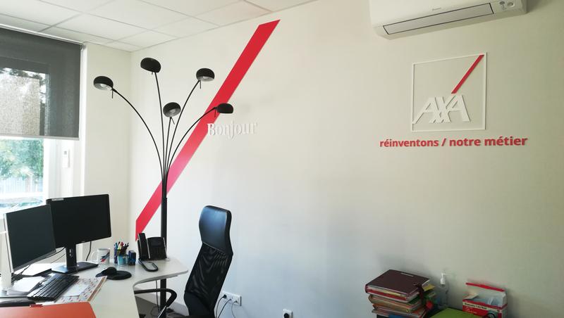 Signalétique AXA assurances Périgueux Sandra Calvet - Adékoi communication
