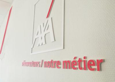 Création signalétique entrée et accueil – Assurance AXA