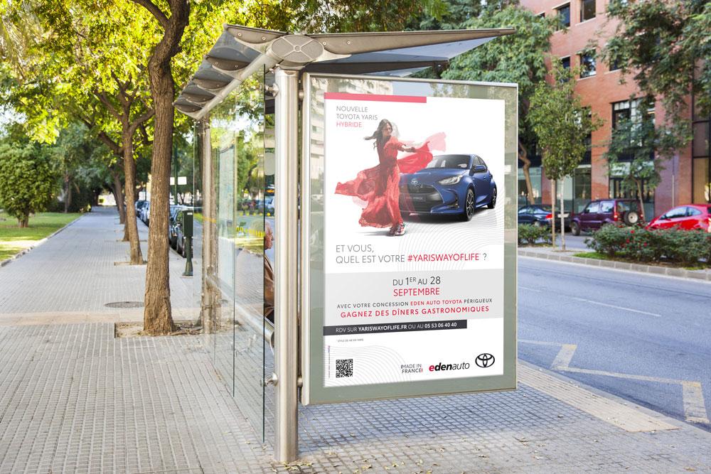 Création campagne de communication Edenauto Toyota Nouvelle Yaris