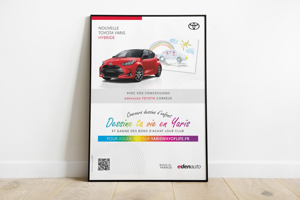 Abribus affiche Edenauto Toyota concessionnaire - Adékoi communication Périgueux