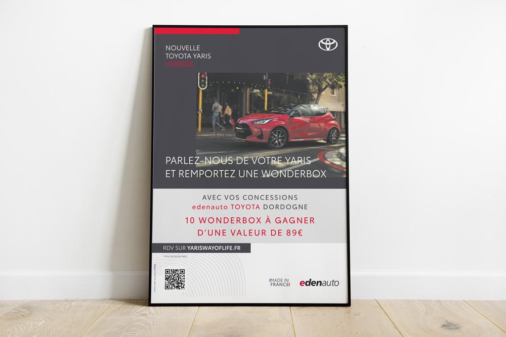 Affiche Edenauto Toyota concessionnaire - Adékoi communication Périgueux