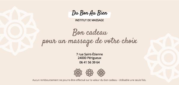 création carte cadeau institut massage Du bon au bien - Adékoi communication Périgueux Dordogne