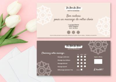 Création carte cadeau : Du Bon au Bien, institut de massage