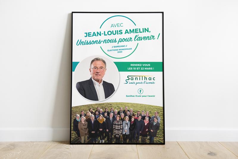 Affiche - Campagne électorale Sanilhac 2020 Jean-Louis Amelin - Adékoi communication Dordogne