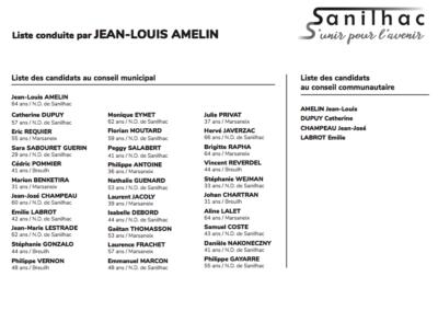 Bulletin de vote - Campagne électorale Sanilhac 2020 Jean-Louis Amelin - Adékoi communication Dordogne