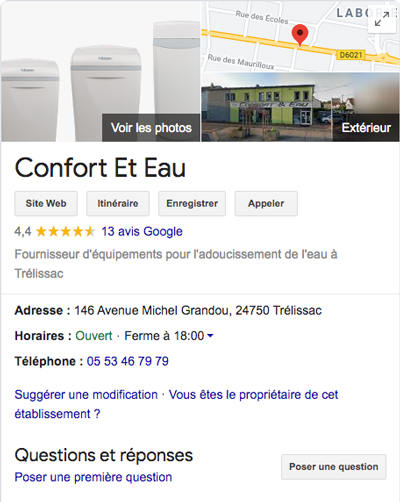Google my business Confort et eau - Adékoi communication et web Périgueux