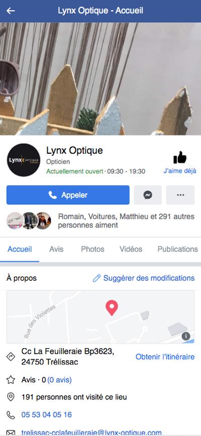 Facebook Lynx optique opticiens - Adékoi communication Périgueux