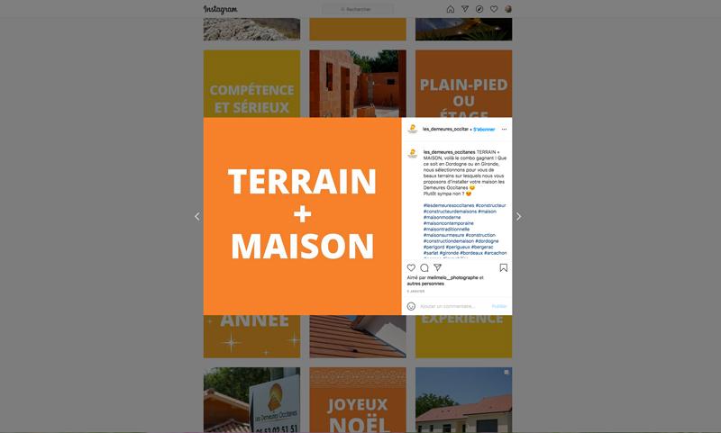 Instagram Demeures Occitanes - constructeur de maisons - Adékoi communication Périgueux