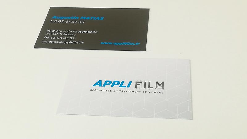 Création cartes de visite Applifilm – Traitement de vitrage