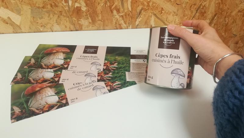Packaging étiquette Andesol - Grossiste champignons - Adékoi communication Périgueux