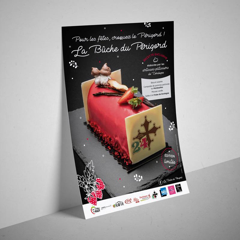 Affiche et flyer La Bûche du Périgord -  Ravir - Groupement d'achats métiers de bouche - Adékoi communication Périgueux