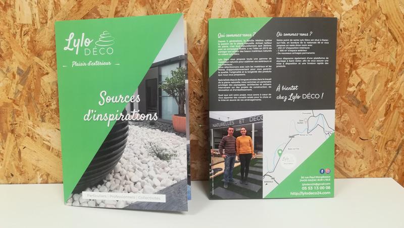 Plaquette commerciale Lylo Déco - matériaux naturels - Adékoi communication Périgueux