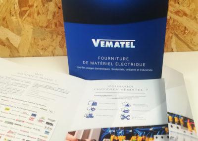 Création plaquette Vematel – Vente de matériel électrique