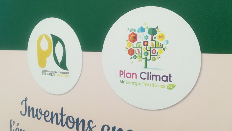Création Roll up et Flybanner Plan climat – Communauté de communes Périgord-Limousin