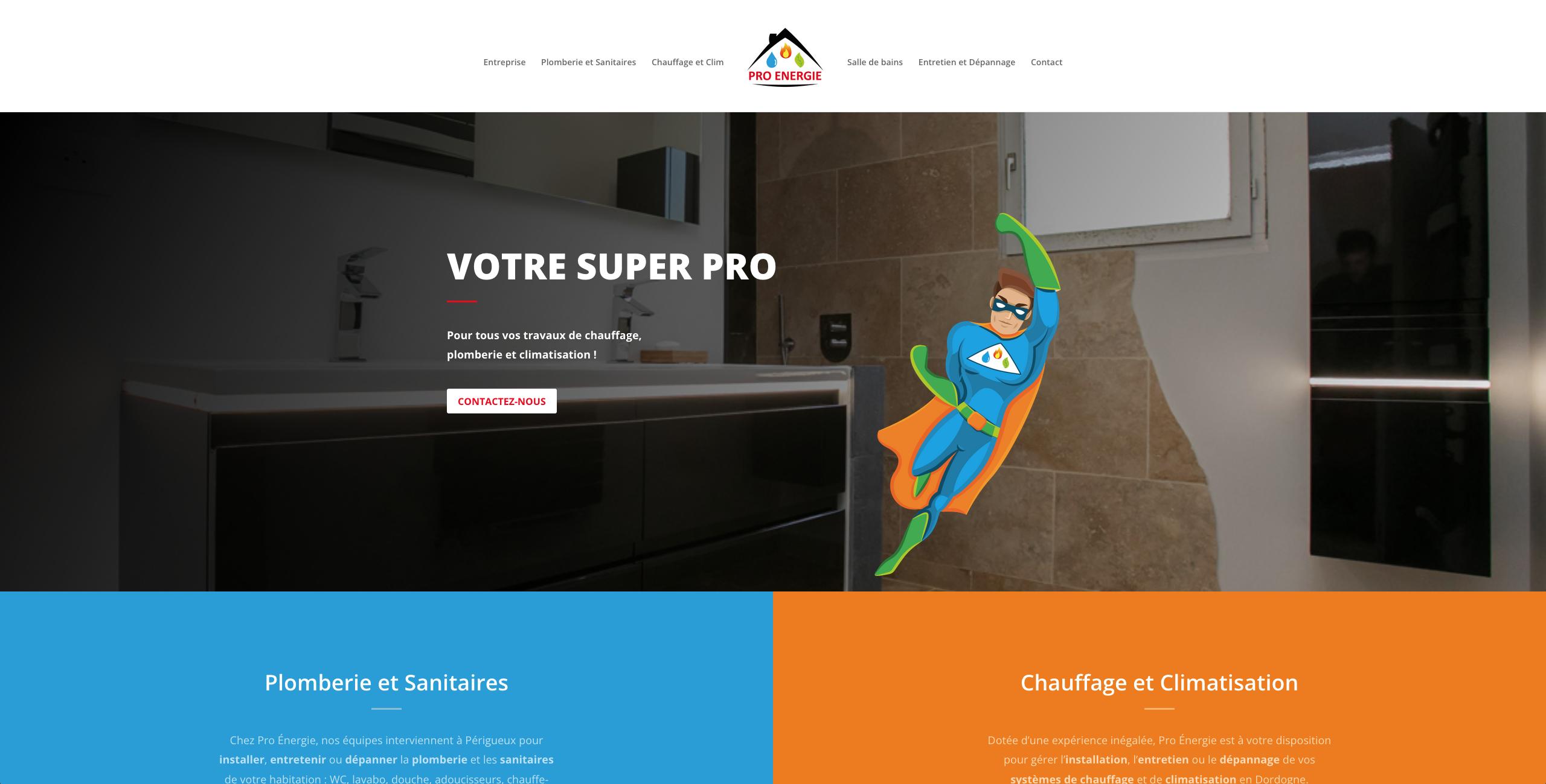 Création site internet Pro énergie plombier chauffagiste salle de bain climatisation - Adékoi communication Périgueux