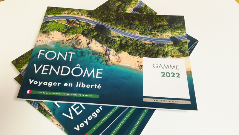 Création catalogue produits Font Vendôme vans aménagés - Adékoi communication Périgueux
